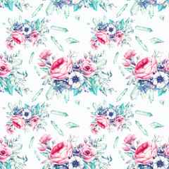 Watercolor flowers and gemstones seamless pattern. Hand painted repeating floral wallpaper design with  minerals. Vintage style peony, roses, anemone, berries and leaves posy, jewels.