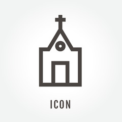 icon Church illustration isolated sign symbol thin line for modern minimalistic flat design vector on white background. logo