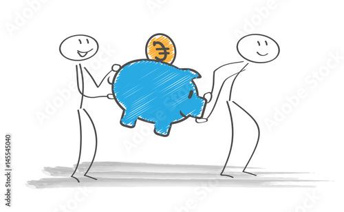 Sparschwein Strichmännchen Sprechblase Euro Münze
