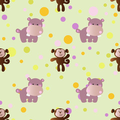 pattern with cartoon cute toy baby behemoth
