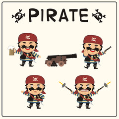 Set isolated pirate in cartoon style. Collection funny pirate in different poses with pistols, sword, beer mug and ship gun.