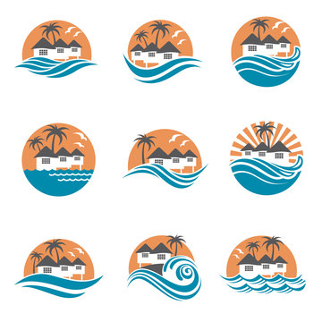 collection of seaside beach logo with houses and palms