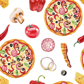 Watercolor pizza pattern