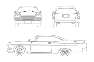 Outline drawing of retro car. Vintage cabriolet. Front, side and back view.