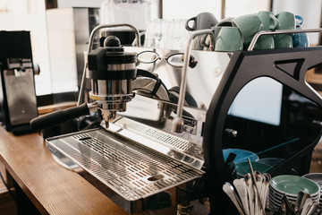 Close-up metallic coffee maker
