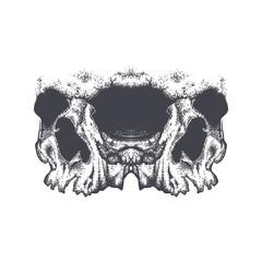 Abstract dotwork grunge horror skull.
