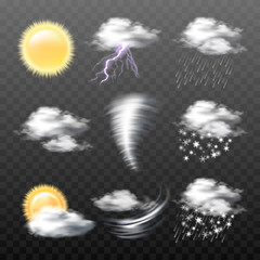 Set of vector realistic weather icons - sun, clouds, thunderstorm with lightning, tornado, wind, rain, snow, wet snow, isolated on transparent background