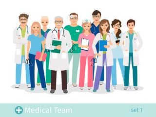 Hospital team isolated on white background