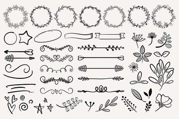 Hand drawn vector dividers. Lines, borders and laurels set. Doodle design elements.