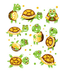 Cartoon funny turtle, set for label design. olorful character vector Illustration
