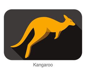 Kangaroo jumping side flat 3D icon design
