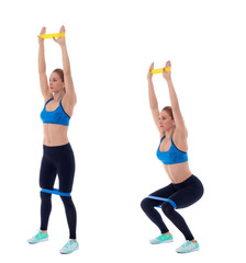 Elastic band overhead squat