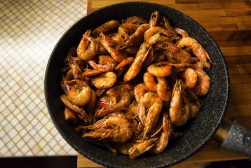King prawns fried in a frying pan