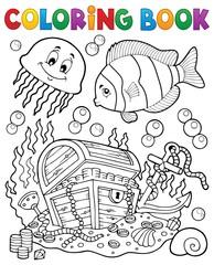 Coloring book treasure chest underwater