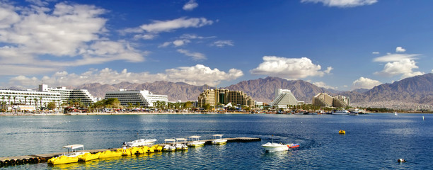 View on the gulf of Aqaba from the central beach of Eilat - famous resort and recreational city in Israel