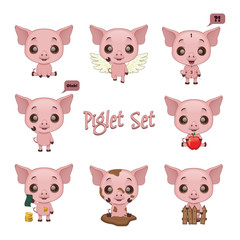Collection of cute pig poses