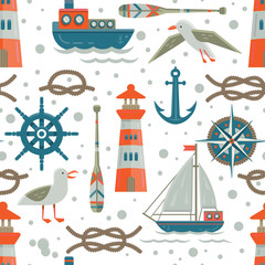 Nautical theme seamless  pattern.