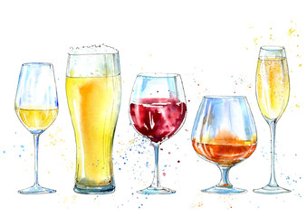 Glass of a champagne,cognac, wine, beer. Picture of a alcoholic drink.Watercolor hand drawn illustration.