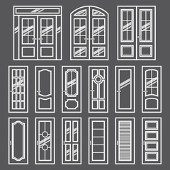 Vector doors design set. Modern and classic flat enterance collection. Interior doorway illustration. Elegant wood passage construction. Black and white style isolated