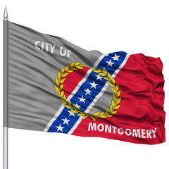 Montgomery Flag on Flagpole, Capital of Alabama State, Flying in the Wind, Isolated on White Background