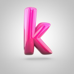Glossy red and pink gradient paint alphabet letter K lowercase isolated on white background