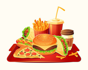 Vector cartoon illustration of a traditional set of fast food meal - hamburger, hot dog, pizza, french fries, taco, take-away coffee, cola - isolated on white. Signboards, badges, stickers, tags