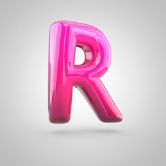 Glossy red and pink gradient paint alphabet letter R uppercase isolated on white background