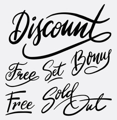 Discount and sold out hand written typography. Good use for logotype, symbol, cover label, product, brand, poster title or any graphic design you want. Easy to use or change color