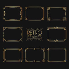 Gold retro frames. Style of 1920s. Collection of golden premium promo seals/stickers.