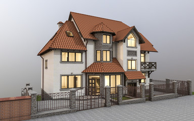 3d ilustration of beautiful modern detached house in country style.