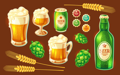 Set of vector isolated cartoon illustrations of various containers for bottling and storing beer - beer glasses of various shapes, glass bottle, aluminum can - and cones of hops, barley spikelets