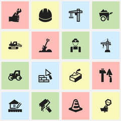 Set Of 16 Editable Structure Icons. Includes Symbols Such As Lifting Equipment, Facing, Hardhat And More. Can Be Used For Web, Mobile, UI And Infographic Design.