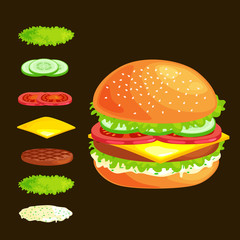 Set of burger grilled beef vegetables dressed with sauce bun snack, hamburger fast food meal menu barbecue meat with detailed individual flying slices menu ingredients vecor illustration background