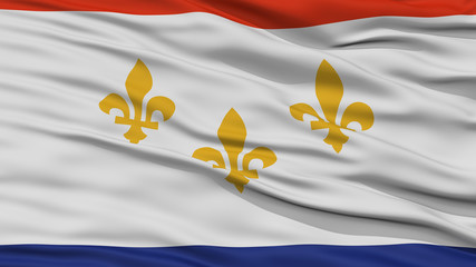 Closeup of New Orleans City Flag, Waving in the Wind, Louisiana State, United States of America