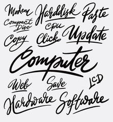 Software and hardware hand written typography. Good use for logotype, symbol, cover label, product, brand, poster title or any graphic design you want. Easy to use or change color