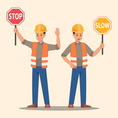 Man holding stop sign and slow sign. Vector design.