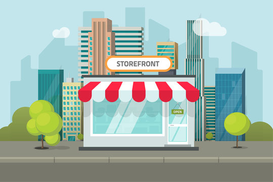 Shop or store building on city street vector illustration, cafe or restaurant storefront on town street landscape, flat cartoon style shop facade front view