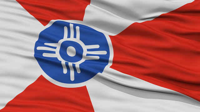 Closeup of Wichita City Flag, Waving in the Wind, Kansas State, United States of America