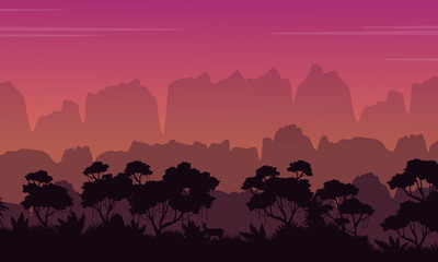 Landscape of mountain with jungle silhouette