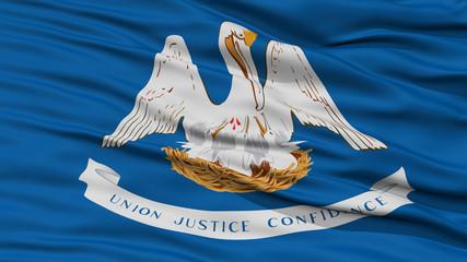 Closeup Louisiana Flag on Flagpole, USA state, Waving in the Wind, High Resolution