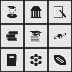 Set Of 9 Editable Graduation Icons. Includes Symbols Such As Diplomaed Male, Molecule, Astrology And More. Can Be Used For Web, Mobile, UI And Infographic Design.