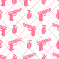 Interesting seamless pattern with pink gun and pomegranate. Abstract background.