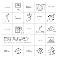 vector marketing and business icons set volume four | flat design linear illustration and infographic black isolated on white background