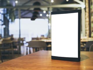Mock up Menu Frame on Table Bar Restaurant Cafe Interior background