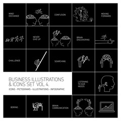 vector concept business icons set volume four | flat design linear illustration and infographic white isolated on black background