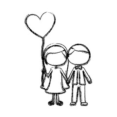 monochrome sketch of caricature faceless couple and him in formal suit and her in dress with balloon in shape of heart vector illustration