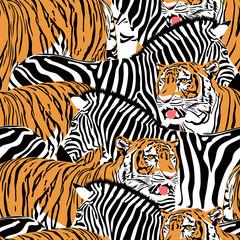 Tiger and zebra seamless pattern. Wild life animals background texture. Illustration.