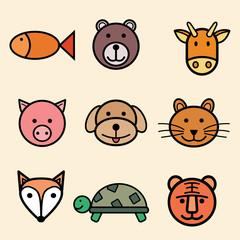 Funny colorful cartoon Animal Vector illustration Icon Set.