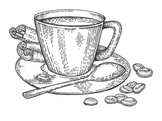 Cup of coffee and beans engraving style vector