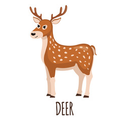 Cute Deer in flat style.
